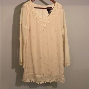 Cream boho chic chiffon dress